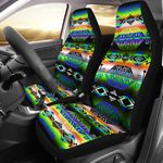 Trade Route East Green And Blue Pattern Printed Car Seat Covers
