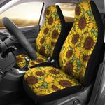 Sunflower Pattern Yellow And Green Printed Car Seat Covers