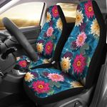 Water Lily Pattern Dark Blue Printed Car Seat Covers