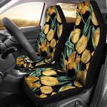 Elegant Yellow Tulip Design Printed Car Seat Covers