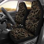 Lotus Gold Mandala Black Design Printed Car Seat Covers