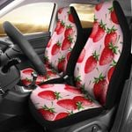 Strawberry Pattern On Light Pink Printed Car Seat Covers