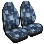 Blue Denim Patchwork Pattern Printed Car Seat Covers