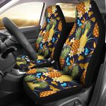 Pineapple Paradise Blue Butterflies Pattern Printed Car Seat Covers