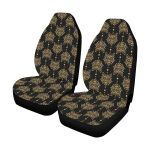 Aztec Wolf Pattern Black And Gold Printed Car Seat Covers
