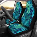 Blue And Green Banana Leaf Printed Car Seat Covers