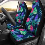 Tropical Flower Pattern Dark Blue Printed Car Seat Covers