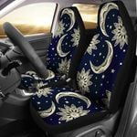 Sun Moon Star Dark Blue And Gold Pattern Printed Car Seat Covers