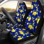 Lemon Dark Blue And Yellow Printed Car Seat Covers