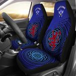 Scotland Symbol With Celtic Patterns Dark Blue Printed Car Seat Covers