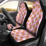 Basset Hound Lover Pink Background Printed Car Seat Covers