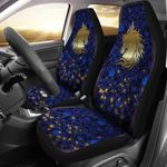 Golden Horse On Blue Pattern Printed Car Seat Covers