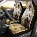 West Highland White Terrier With Vintage Roses Printed Car Seat Covers