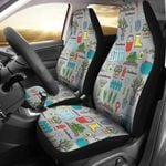 Gardening Tools Grey Background Printed Car Seat Covers