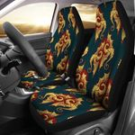 Dragons Gold And Maroon Pattern Printed Car Seat Covers