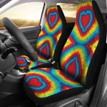 Tie Dye Heart Shape Pattern Printed Car Seat Covers