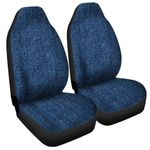 Navy Blue Denim Jeans Printed Car Seat Covers