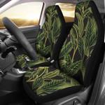 Tropical Banana Leaf In Black Printed Car Seat Covers