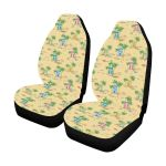 Beach Themed Light Yellow Background Printed Car Seat Covers