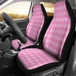 Light Pink Argyle Motif Printed Car Seat Covers
