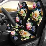Water Lily Colored Pattern Black Printed Car Seat Covers