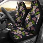 Lotus Embroidered Pattern Black Printed Car Seat Covers