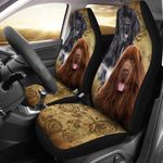 Black And Chocolate Newfoundland Beige Printed Car Seat Covers