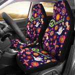 Flower Power Peace Dark Purple Design Printed Car Seat Covers