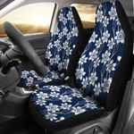Daffodils Dark Blue And White Design Printed Car Seat Covers