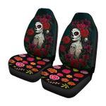 Beauty Of Skull Girl With Flowers Printed Car Seat Covers