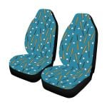 Baseball Pattern Blue And Brown Printed Car Seat Covers