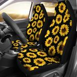 Sunflower Yellow Pattern On Black Printed Car Seat Covers
