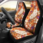 Tropical Flower Pattern Orange Background Printed Car Seat Covers
