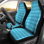 Light Blue Argyle Pattern Printed Car Seat Covers