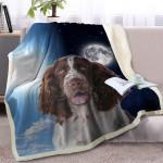 Springer Spaniel And Moon CLA1010121F Sherpa Fleece Blanket