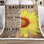 Sunflower To My Daughter From Dad CL16110596MDF Sherpa Fleece Blanket
