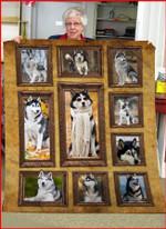 3D Siberian Husky dog CLA0411064F Sherpa Fleece Blanket