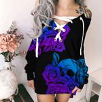 Flower Skull HN130405 Deep V-Neck Off Shoulder Long Sleeve Dress
