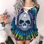 Tie Dye Skull HN130406 Deep V-Neck Off Shoulder Long Sleeve Dress