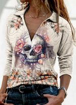 Floral Skull Casual Collar Long Sleeve Blouses HM160411
