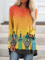 Native American Long Sleeve O-neck Asymmetrical T-shirt For Women TL170409