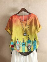 Native American Casual Short Sleeve O-Neck Cotton T-shirt For Women TL170403
