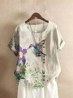 Hummingbird TL170404 Casual Short Sleeve O-Neck Cotton T-shirt For Women