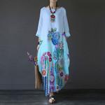 Hummingbird Flower Sleeve Loose Maxi Dress HN170406