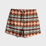 Mens Native American Pattern Print Drawstring Waist Loose Thin Holiday Beach Board Shorts HM190401