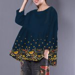 Flower O-neck Shirt Loose Sweet Long Sleeve HN190402