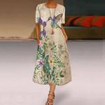 Hummingbird Tunic Round Neckline A-line Dress HM220441