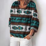 Native American Turn-down Collar Long Sleeve Loose Blouse HM260432