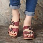 ELASTING Paris Design Open Toe Fancy Flower Women Sandals