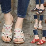 FleekComfy™ Premium Flower Embroidery Wedge Sandals